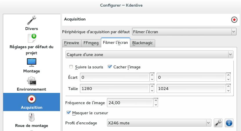 Configuration pour l'acquisition vidéo dans Kdenlive
